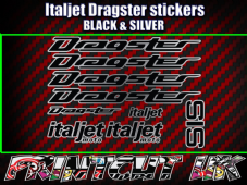 Italjet Dragster Decals Stickers SILVER & BLACK 9 piece set 50 70 125 172 180